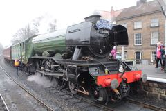 Flying Scotsman. Visit to North Yorkshire moors railway stock image