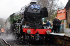 Flying Scotsman. Visit to North Yorkshire moors railway stock photography