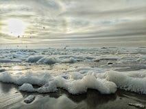 Flying sea foam stock photos