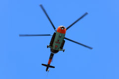 Flying search and rescue (SAR) helicopter Stock Photo