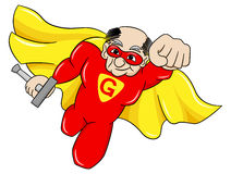 Flying senior super hero with cape Stock Images