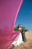 With flying shawl. Bride and groom with the pink shawl Stock Photos