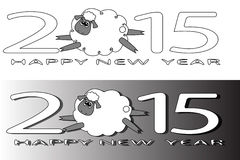 2015 with a flying sheep . 2015 with a flying sheep on white and grey background with shadow Royalty Free Stock Images