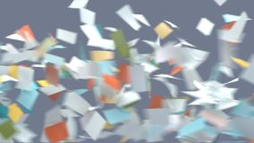 Flying sheets of colored paper royalty free stock image