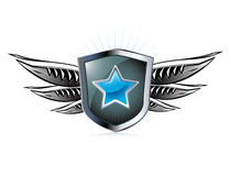 Flying shield Royalty Free Stock Image