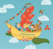 Flying Ship Inspiration With Happy Kids. Vector illustration with group of children playing on unusial self-invented flying ship Stock Photography