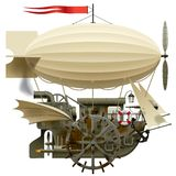 Flying Ship. Isolated raster version of vector image of the complex fantastic flying ship with machinery, dirigible, sail, wings, water-wheel, spyglass and other Royalty Free Stock Images