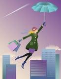 Flying shopper Stock Photo