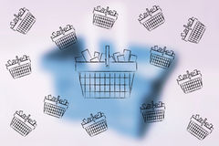 Flying shopping baskets full of items. Shopping concept: flying shopping baskets full of items and one bigger in the middle Royalty Free Stock Image