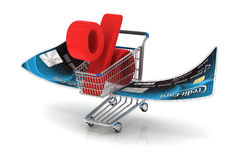 Flying shopping cart with percent sign Stock Photo