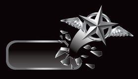 Flying silver star banner Stock Photo