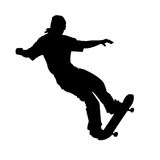 Flying skateboarder on white. Silhouette of teen on skateboard isolated on white background Royalty Free Stock Photo