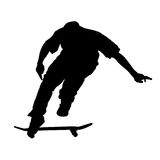 Flying skater on white. Silhouette of teen on skateboard isolated on white background Royalty Free Stock Photos