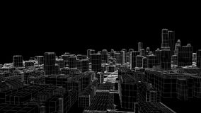 Flying in the sketched city, Alpha included, stock footage vector illustration
