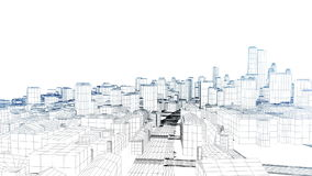 Flying in the sketched city on white, stock footage royalty free illustration