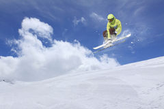 Flying skier on mountains. Extreme sport Stock Photo