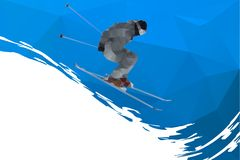 Flying skier on mountains, vector Stock Photo