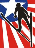 Flying skier silhouette Stock Photo