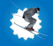 Flying skier and snowflake, vector Royalty Free Stock Image