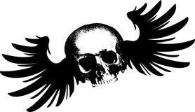 Flying Skull. Grunge Flying Skull Vector Illustration Royalty Free Stock Photos