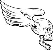 Flying skull with wings vector illustration Stock Photos