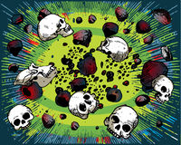 Flying skulls and stones Royalty Free Stock Image