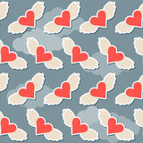 Flying in the sky with clouds brighy hearts with wings seamless pattern abstract background for valentines day or wedding Royalty Free Stock Photography