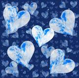 Flying sky hearts on blue backgrounds Stock Photo