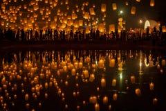 Flying Sky Lantern on Yeepeng festival Stock Photography