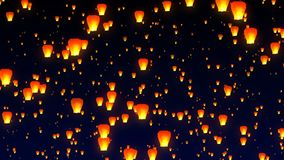 Flying sky lanterns in the night sky stock illustration