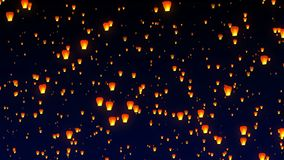 Flying sky lanterns in the night sky stock footage