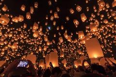 Flying sky lanterns during yeepeng festival Stock Photos