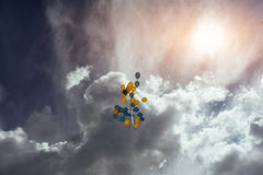 Flying in the sky yellow - blue balls Royalty Free Stock Photography