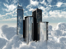 Flying skyscrapers Stock Images
