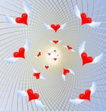 Flying small hearts. On a blue background in a golden mesh a lot of flying crimson hearts Royalty Free Stock Photo