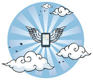 Flying smart phone with wings Royalty Free Stock Photo