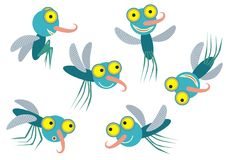 Flying and smilling mosquito. Flying and smilling blue mosquito in motion Stock Photography