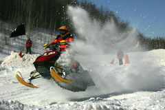 Flying snow. Taken at elliot lake snowmobile races Stock Images