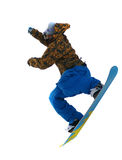 Flying snowboarder. Shot depicting a snowboarder jumping a ramp on the slope royalty free stock photos