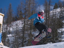 Flying snowboarder Royalty Free Stock Photos