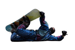 Flying snowboarder isolated on white Royalty Free Stock Photos