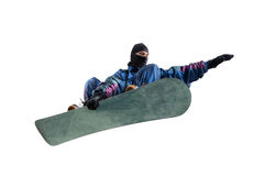 Flying snowboarder isolated on white Royalty Free Stock Image