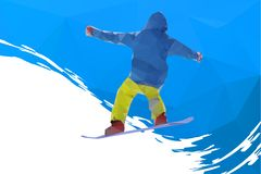 Flying snowboarder on mountains, vector Royalty Free Stock Photos