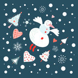 Flying Snowman Stock Photography