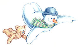 Flying Snowman and his Bear Friend. Pencil illustration of a Flying Snowman and his Bear Friend Stock Image