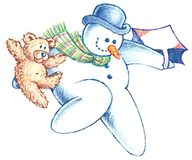 Flying Snowman and his Bear Friend descending Stock Photography
