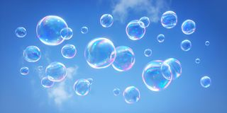 Soap bubbles against a blue sky - 3D illustration stock illustration