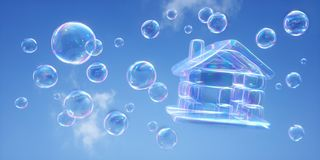 Soap bubbles against a blue sky - 3D illustration royalty free illustration