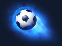 Flying soccer ball Stock Photos