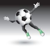 Flying soccer ball character Stock Photo